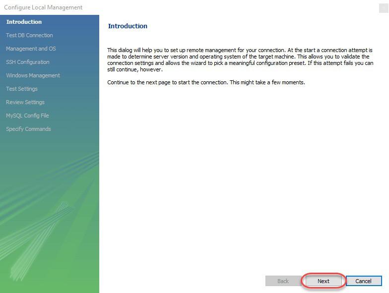 Cửa sổConfigure Local Management